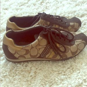 Authentic Coach Sneakers with Gold Accents size 6